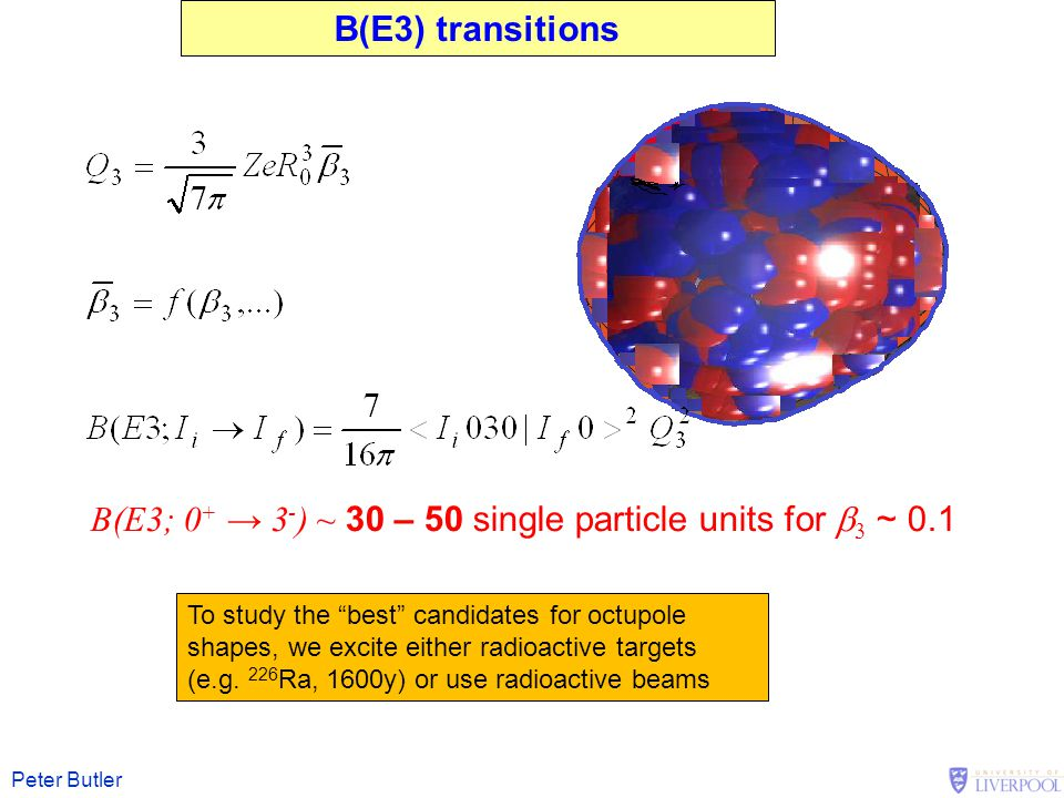 B(E3; 0+ → 3-) ~ 30 – 50 single particle units for b3 ~ 0.1