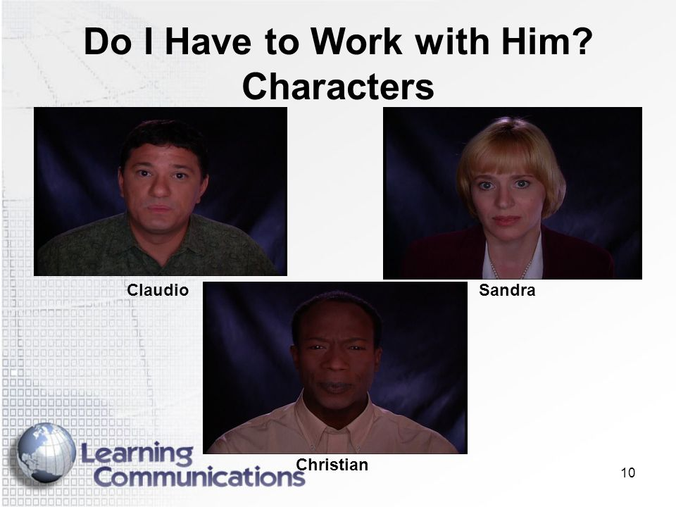 Do I Have to Work with Him Characters