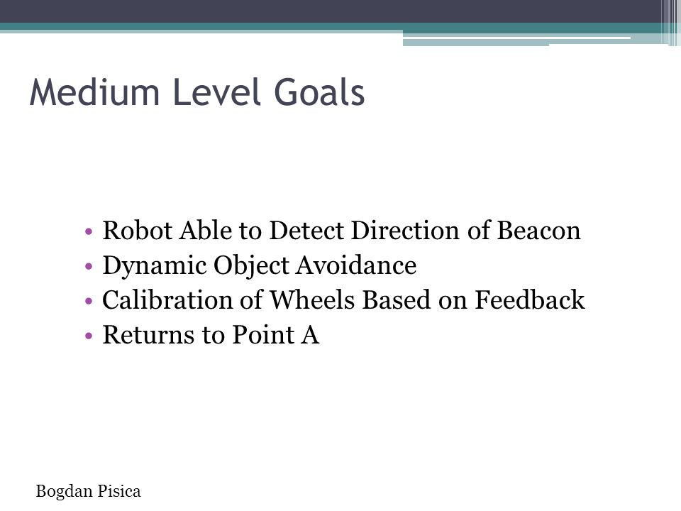 Medium Level Goals Robot Able to Detect Direction of Beacon