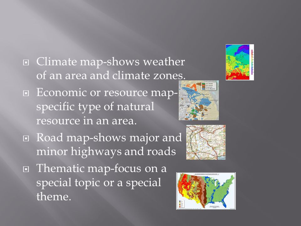 Climate map-shows weather of an area and climate zones.