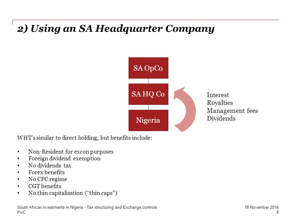 2) Using an SA Headquarter Company