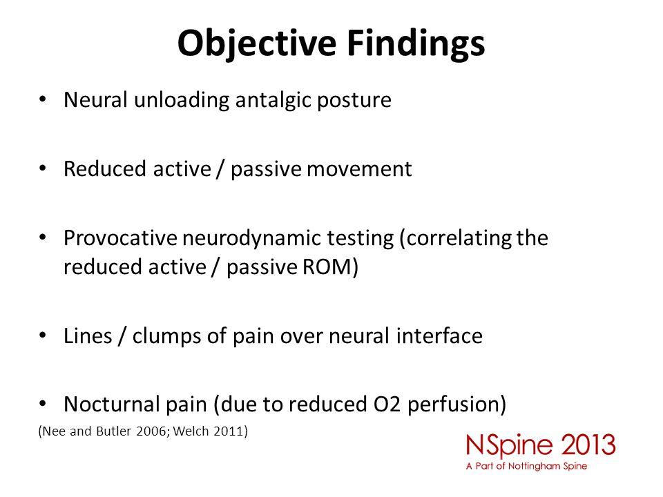 Objective Findings Neural unloading antalgic posture
