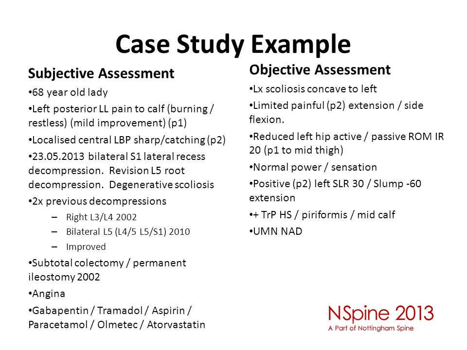 Case Study Example Objective Assessment Subjective Assessment