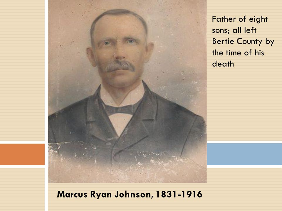 Father of eight sons; all left Bertie County by the time of his death