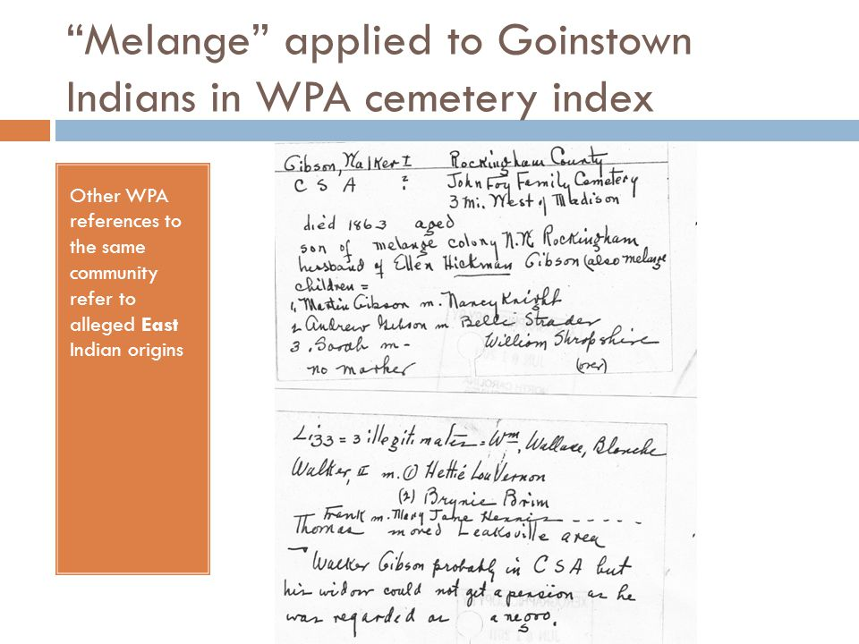 Melange applied to Goinstown Indians in WPA cemetery index