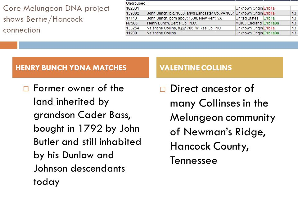 Core Melungeon DNA project shows Bertie/Hancock connection