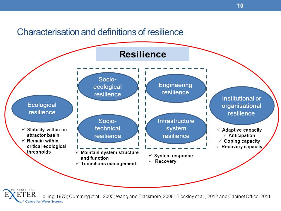 Characterisation and definitions of resilience