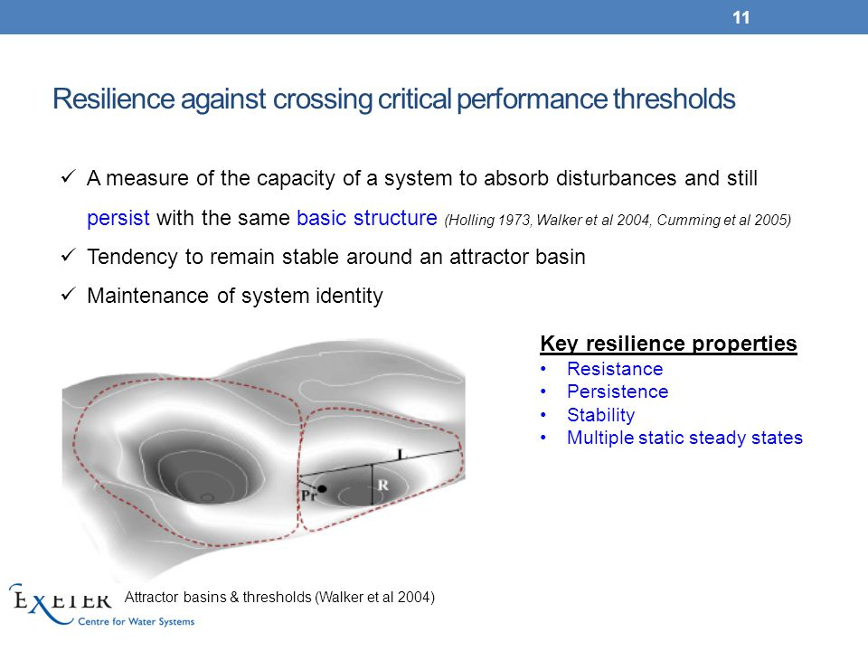 Resilience against crossing critical performance thresholds