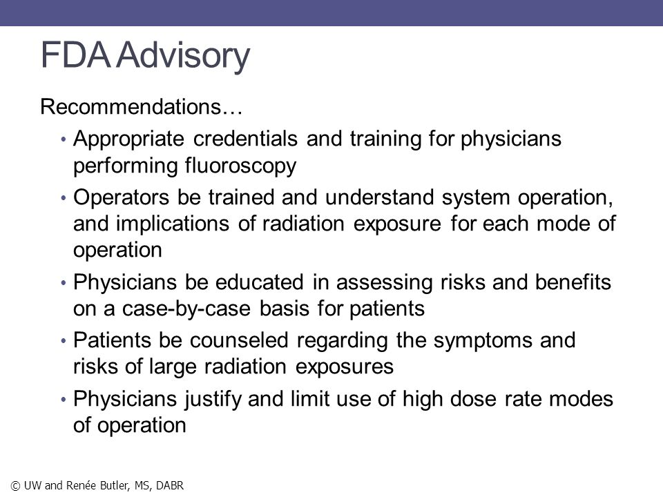 FDA Advisory Recommendations…