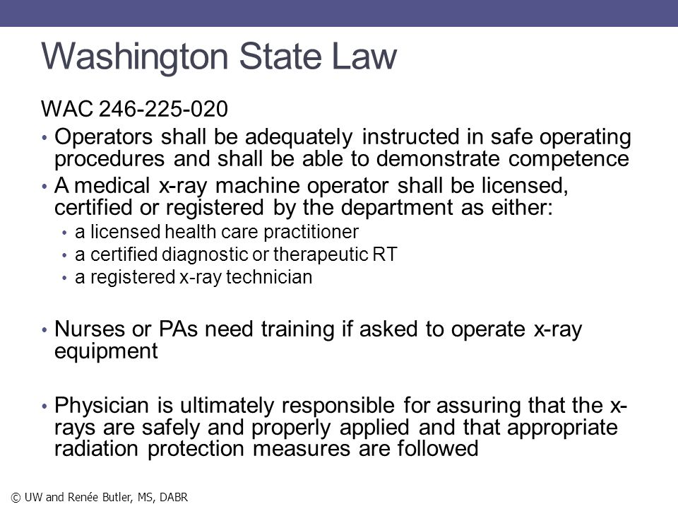 Washington State Law WAC 246-225-020