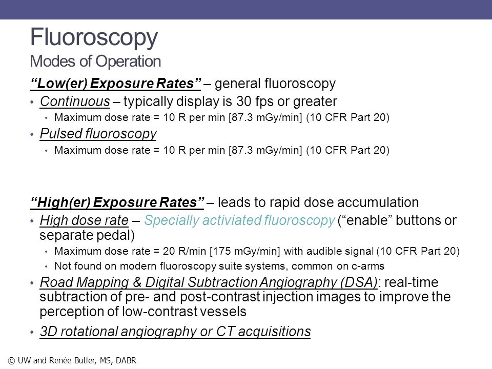 Fluoroscopy Modes of Operation