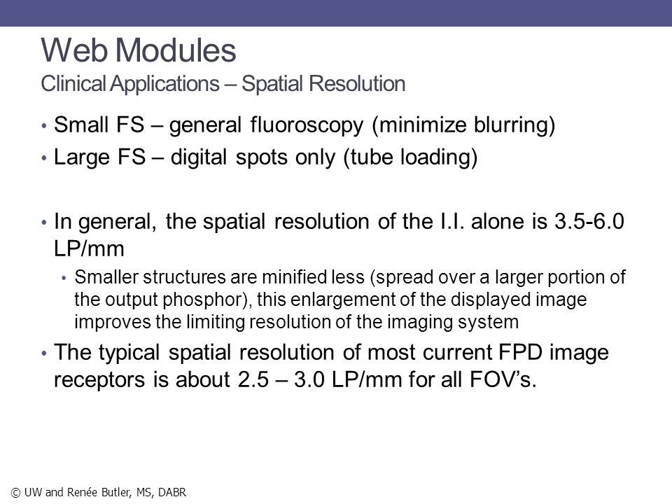 Web Modules Clinical Applications – Spatial Resolution