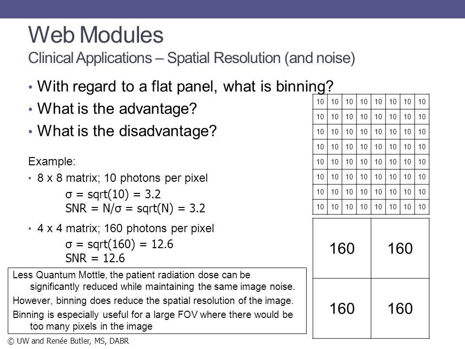 Web Modules Clinical Applications – Spatial Resolution (and noise)
