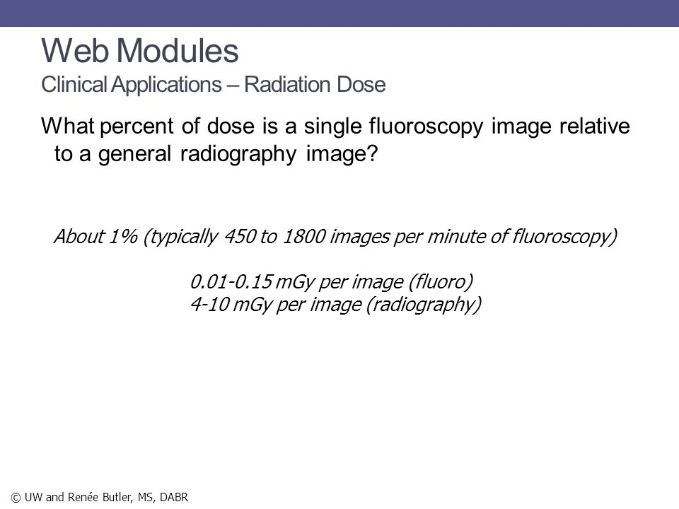 Web Modules Clinical Applications – Radiation Dose