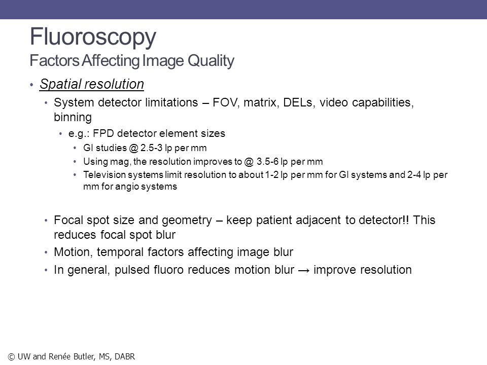 Fluoroscopy Factors Affecting Image Quality