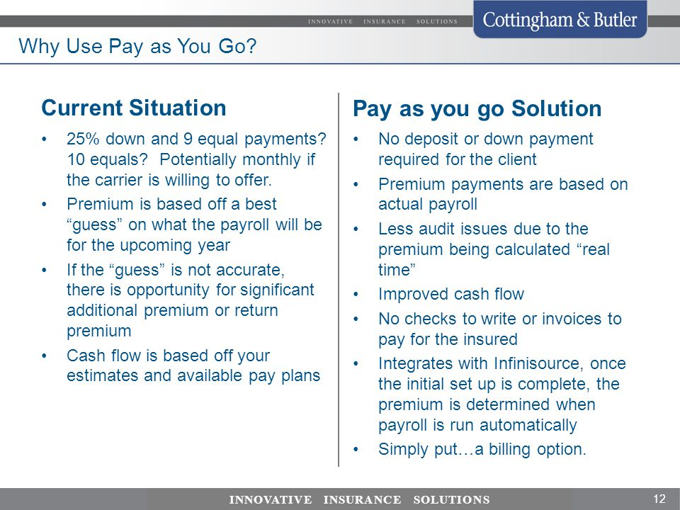 Current Situation Pay as you go Solution Why Use Pay as You Go