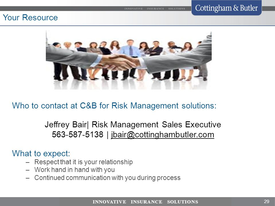 Who to contact at C&B for Risk Management solutions: