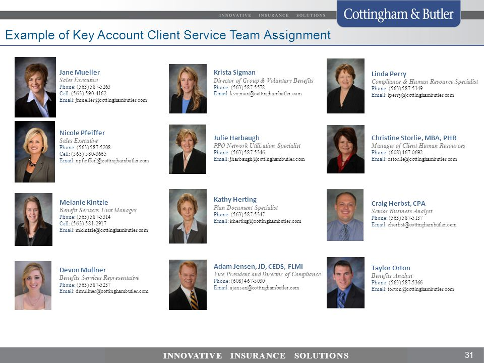 Example of Key Account Client Service Team Assignment