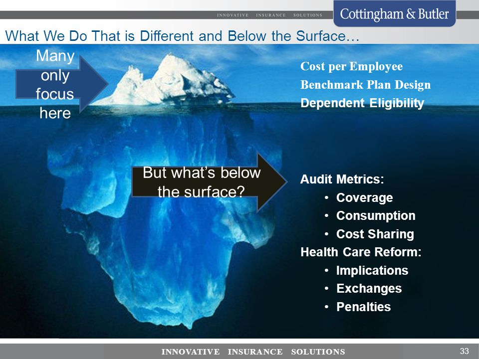 What We Do That is Different and Below the Surface…