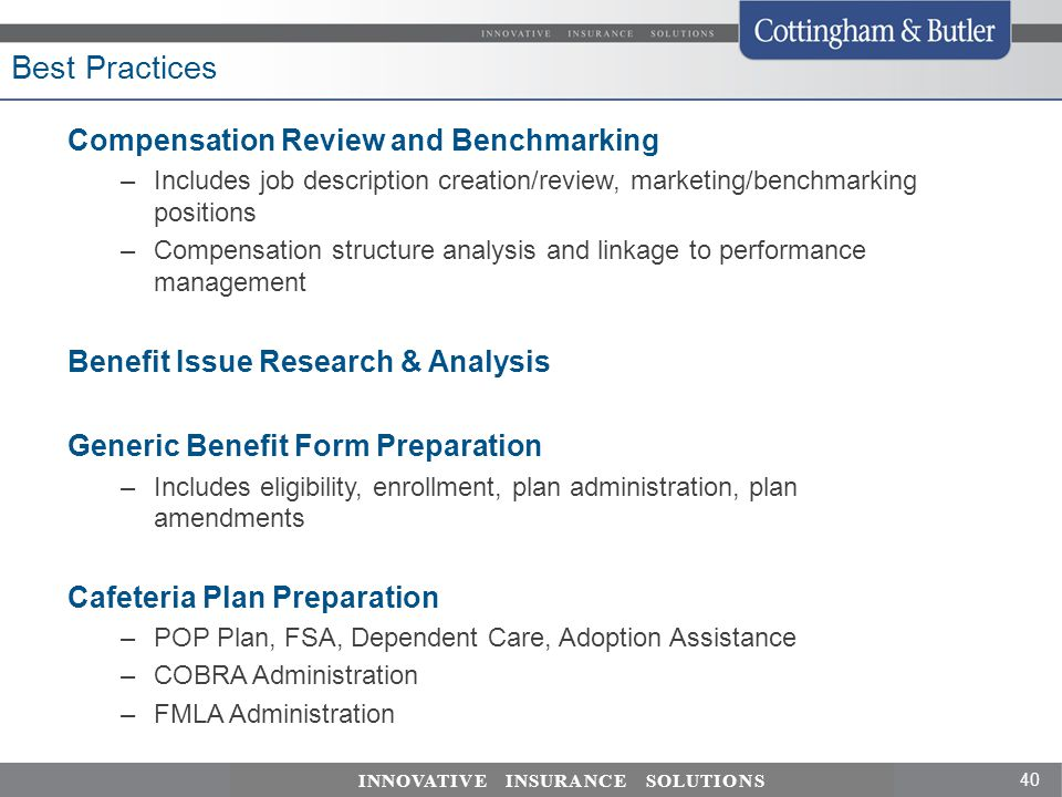 Best Practices Compensation Review and Benchmarking