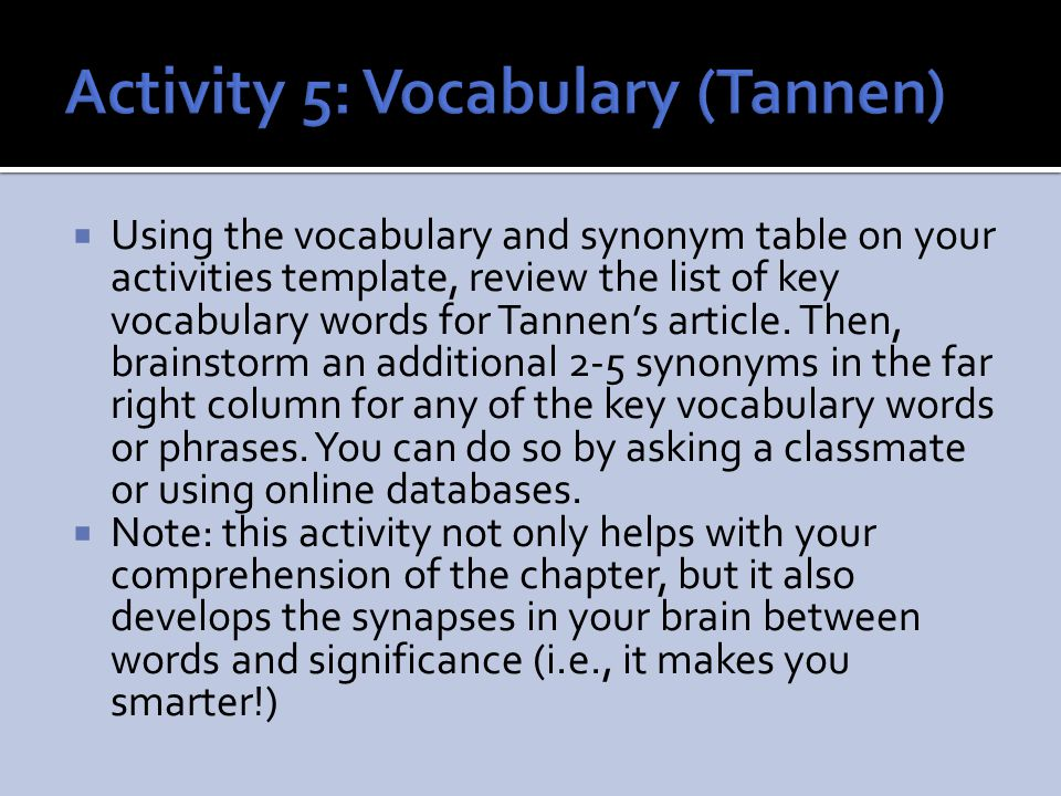 Activity 5: Vocabulary (Tannen)
