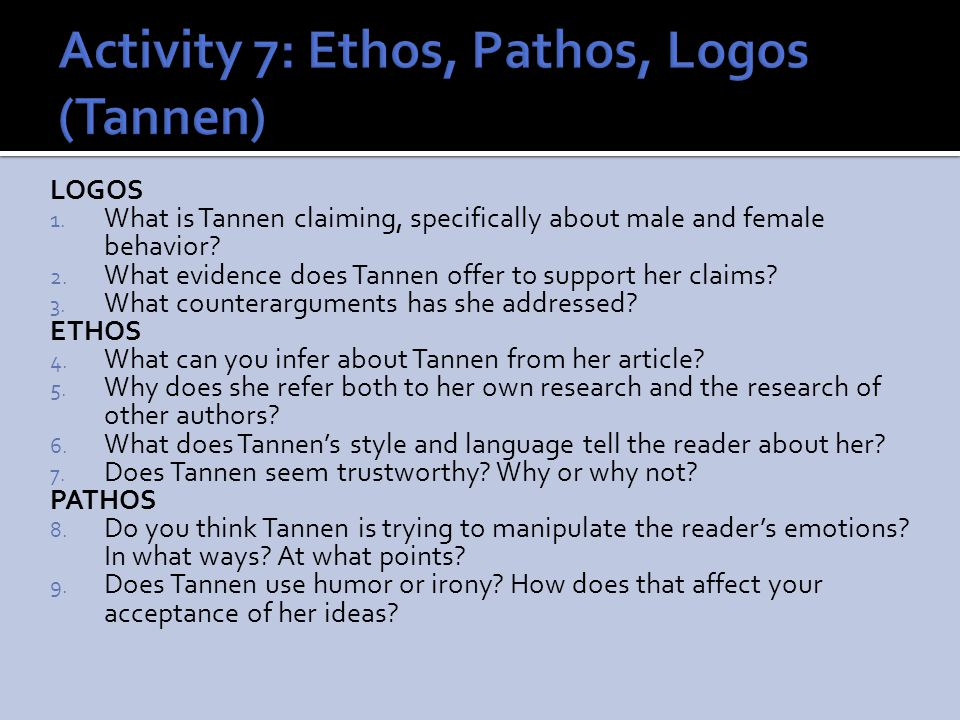 Activity 7: Ethos, Pathos, Logos (Tannen)