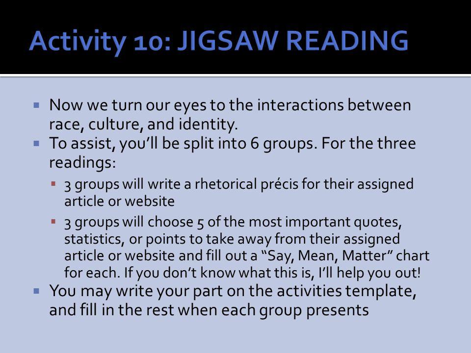 Activity 10: JIGSAW READING
