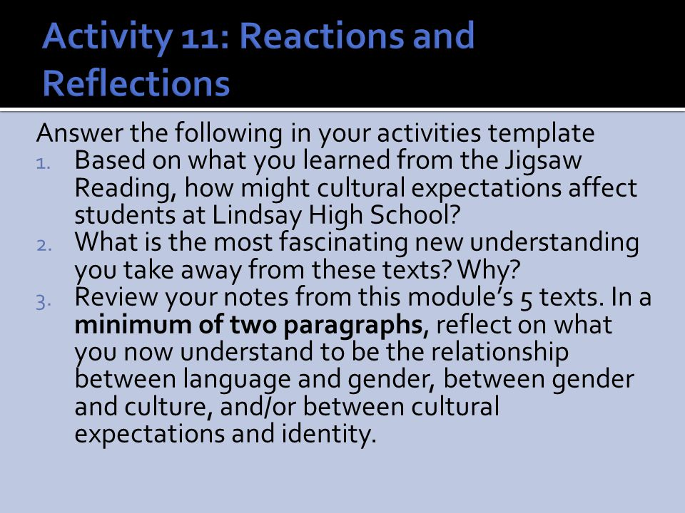 Activity 11: Reactions and Reflections