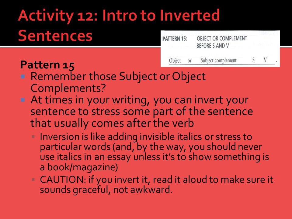 Activity 12: Intro to Inverted Sentences