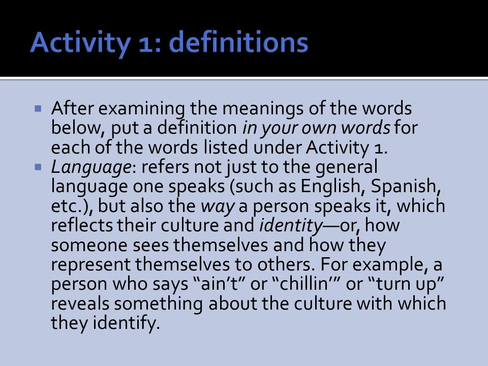Activity 1: definitions
