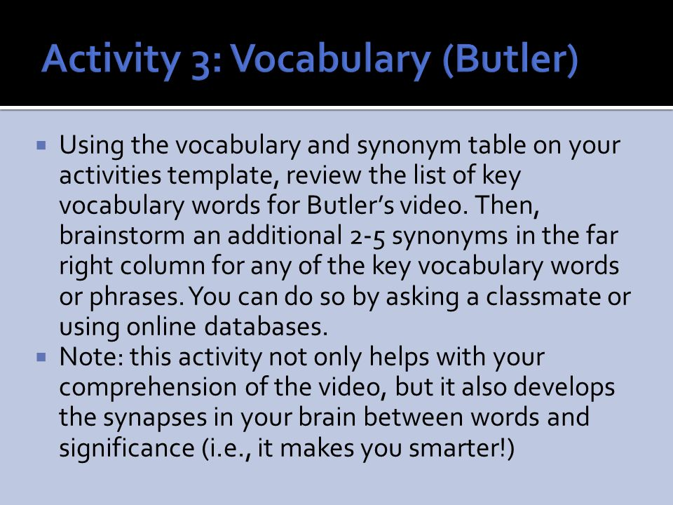 Activity 3: Vocabulary (Butler)