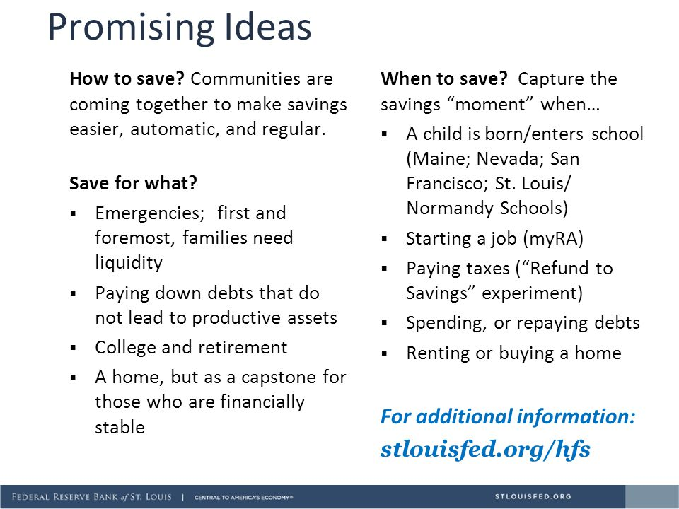 Promising Ideas For additional information: stlouisfed.org/hfs