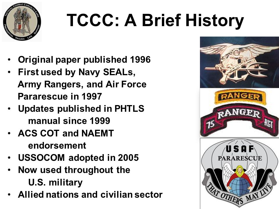TCCC: A Brief History Original paper published 1996