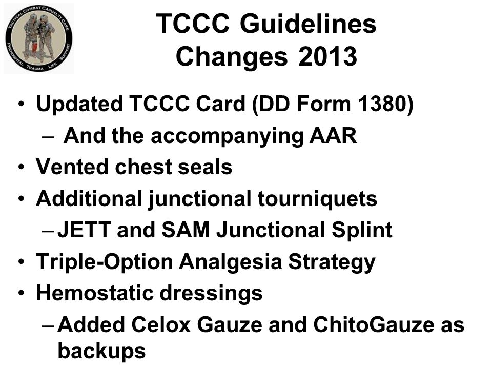 TCCC Guidelines Changes 2013
