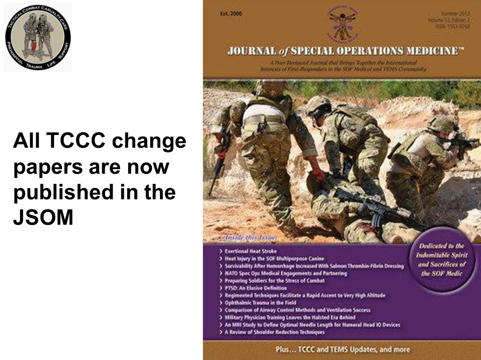 All TCCC change papers are now published in the JSOM