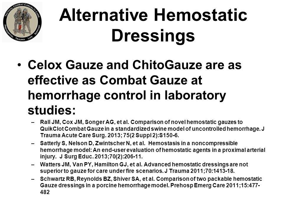 Alternative Hemostatic Dressings