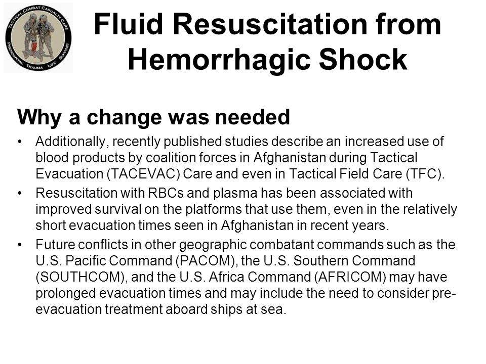Fluid Resuscitation from Hemorrhagic Shock