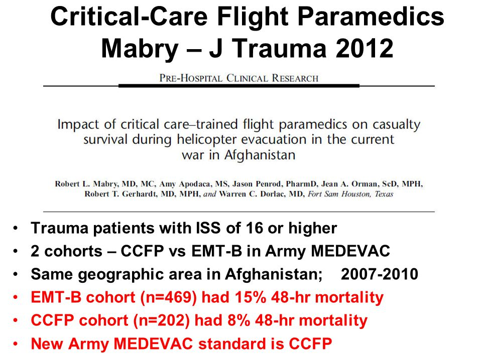 Critical-Care Flight Paramedics Mabry – J Trauma 2012
