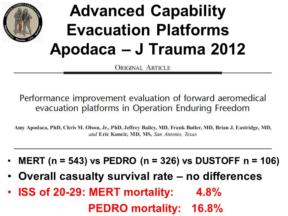Advanced Capability Evacuation Platforms Apodaca – J Trauma 2012
