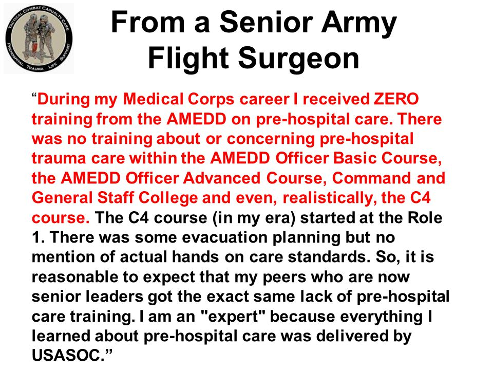 From a Senior Army Flight Surgeon