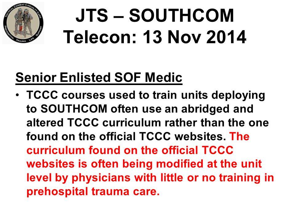JTS – SOUTHCOM Telecon: 13 Nov 2014