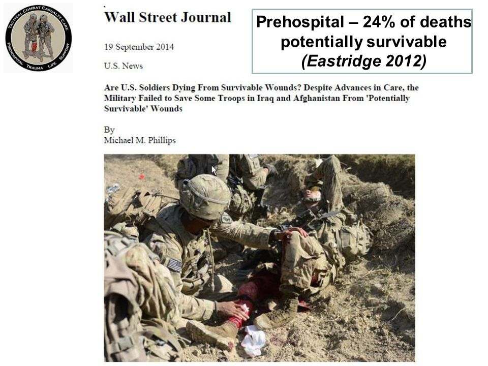 Prehospital – 24% of deaths potentially survivable (Eastridge 2012)