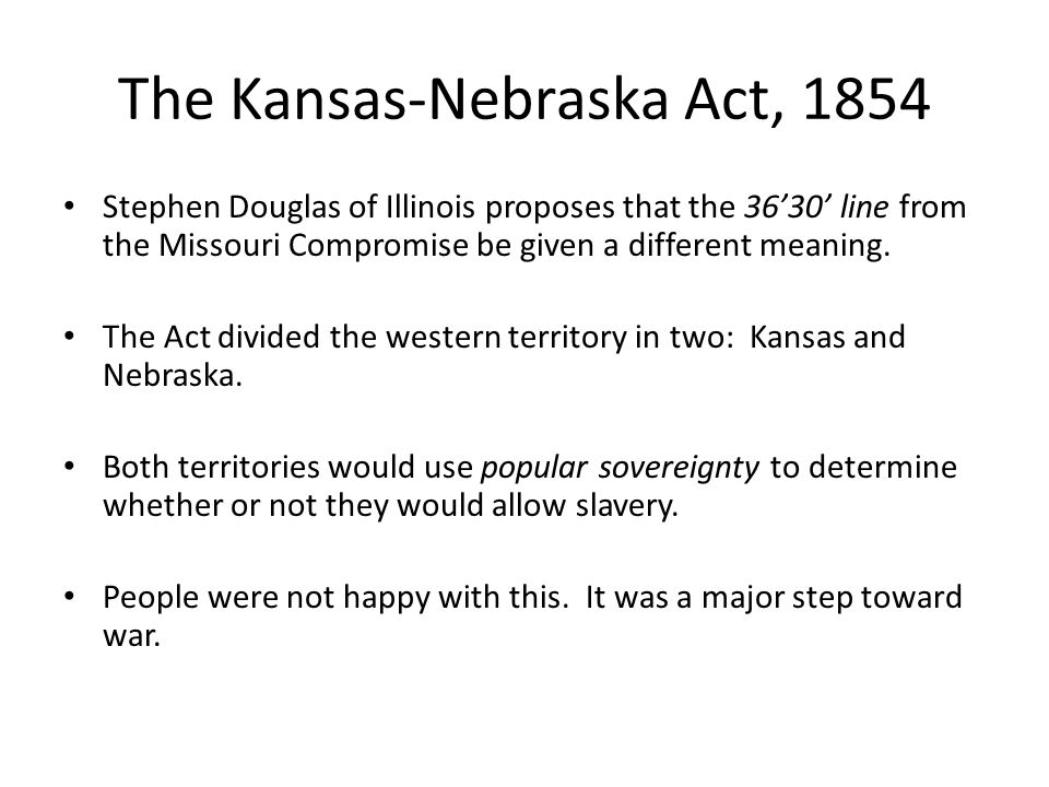 The Kansas-Nebraska Act, 1854