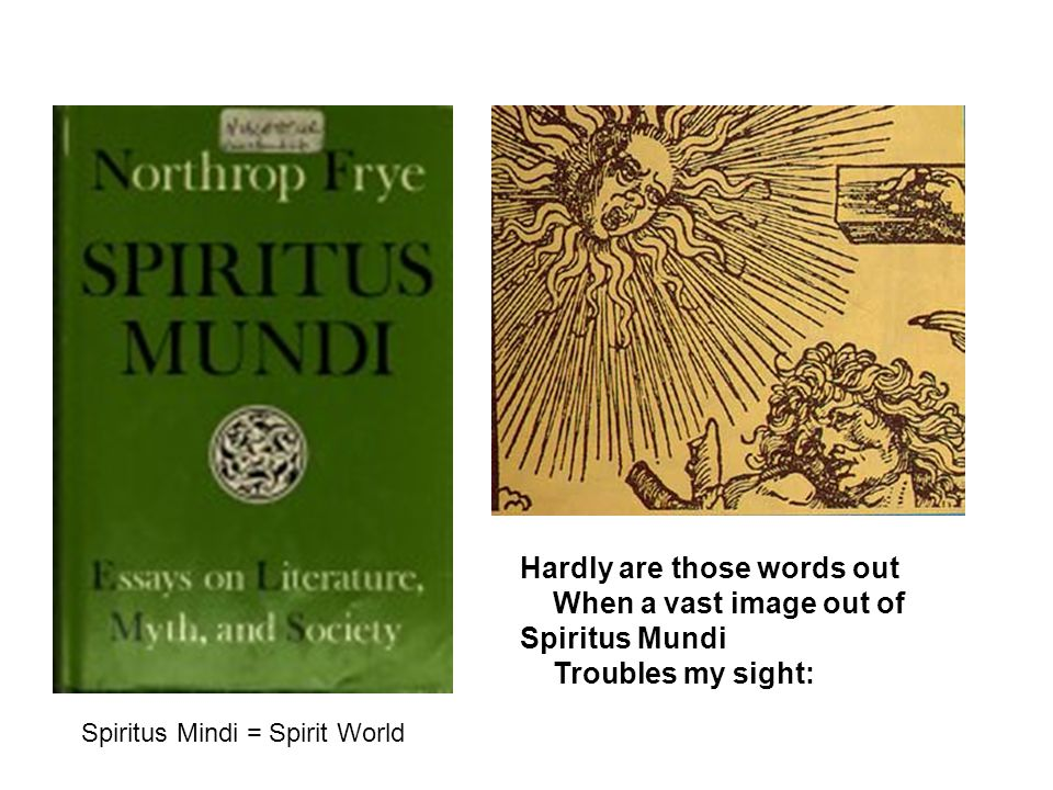 Hardly are those words out When a vast image out of Spiritus Mundi Troubles my sight: