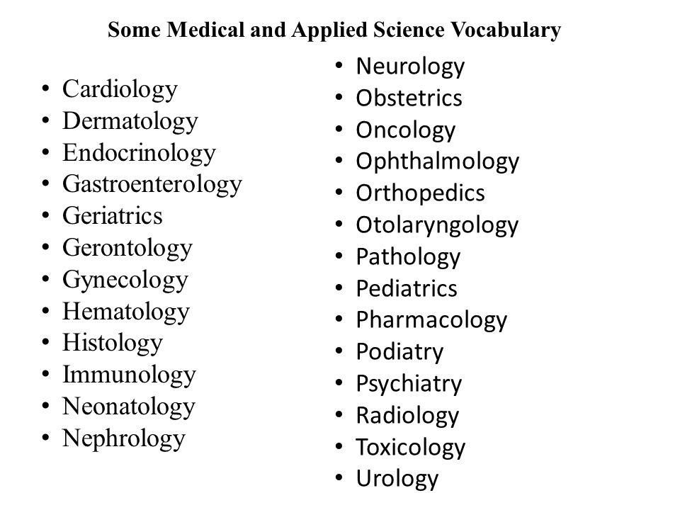 Some Medical and Applied Science Vocabulary