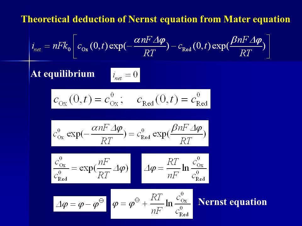 Theoretical deduction of Nernst equation from Mater equation