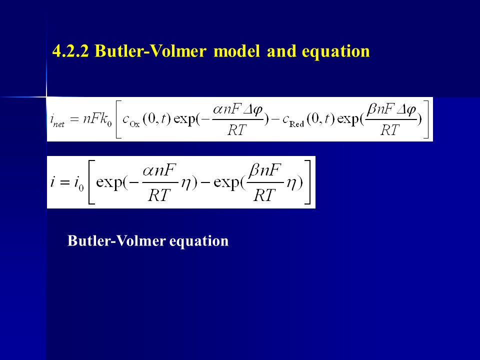 4.2.2 Butler-Volmer model and equation