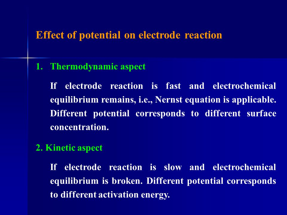 Effect of potential on electrode reaction