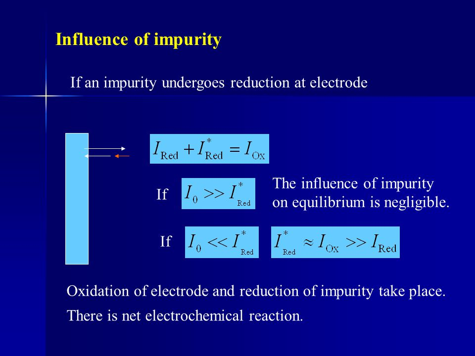 Influence of impurity If an impurity undergoes reduction at electrode