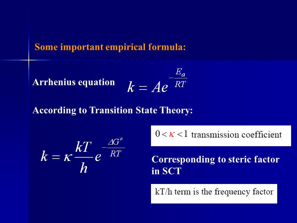 Some important empirical formula: